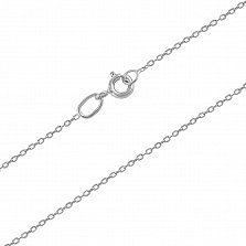 Серебряная родированная цепочка Алисия в классическом якорном плетении