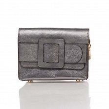 Кожаный клатч Genuine Leather 1812 темно-серого цвета с декоративной пряжкой и плечевым ремнем