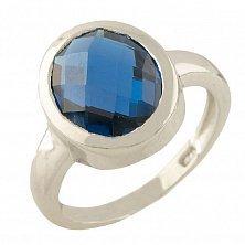 Серебряное кольцо Серафима с синтезированным синим топазом