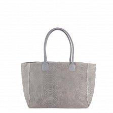 Кожаная сумка на каждый день Genuine Leather 7804 серого цвета на молнии и магнитной кнопке