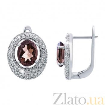 Серьги серебряные с раухтопазом и цирконием Мелоди AQA--E00812RT