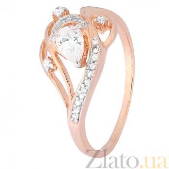 Серебряное кольцо Муджерес с фианитами и позолотой 000028398