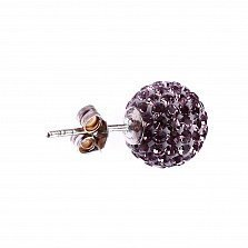 Серебряные пуссеты-шары Блеск со светло-розовыми кристаллами Swarovski