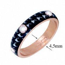 Золотое кольцо Пастель с фианитами и эмалью гусиные лапки