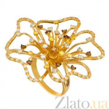 Кольцо из желтого золота Камелия с фианитами VLT--Т1147