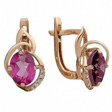 Золотые серьги с розовым топазом и фианитами Ирма