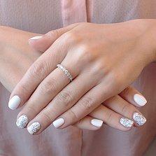 Золотое кольцо Веночек в белом цвете с дорожкой из 9 белых фианитов