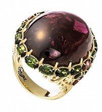 Золотое кольцо Элегия в желтом цвете с турмалинами разного цвета