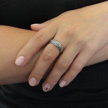 Серебряное кольцо Круговорот с чернением и позолотой