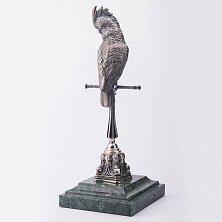 Серебряная статуэтка ручной работы Попугай на жердочке