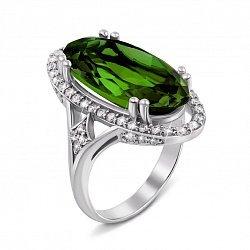 Серебряное кольцо с зеленым кварцем и фианитами 000122584