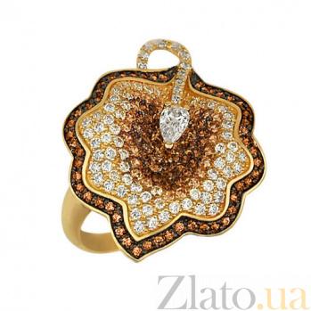 Кольцо из желтого золота Ностальгия с фианитами VLT--ТТ1015-1