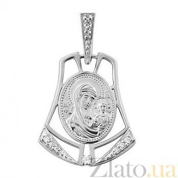 Серебряная ладанка Божья Матерь с фианитами TNG--160500С
