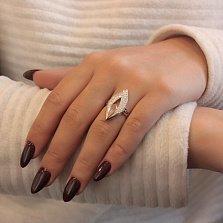 Серебряное кольцо Таира с золотой накладкой, фианитами, черной эмалью и родием