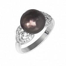 Серебряное кольцо Ариель с жемчугом и фианитами