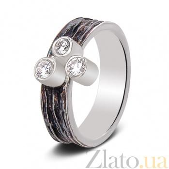 Серебряное кольцо Трио с чернением Ант 002 бч