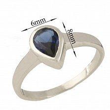 Серебряное кольцо Лаванья с синтезированным сапфиром