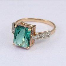 Золотое кольцо Айлин с синтезированным аметистом и фианитами