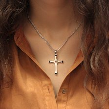 Серебряный декоративный крестик Изольда с фантазийной основой и черной эмалью