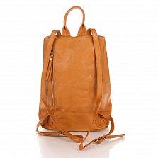 Кожаный рюкзак Genuine Leather 8706 коньячного цвета с вертикальной молнией