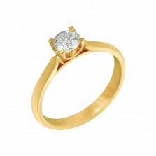 Кольцо из желтого золота Мартина с бриллиантом