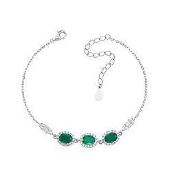 Серебряный браслет с зелеными агатами и фианитами 000133823