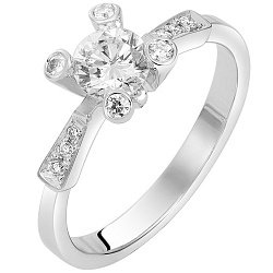 Кольцо в белом золоте Промис с бриллиантами