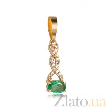 Золотой подвес с изумрудом и бриллиантами Изабель EDM-П7530СМАРАГД