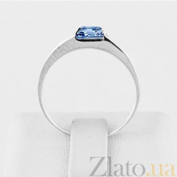 Золотое кольцо в белом цвете с голубым топазом Аделина 000030787