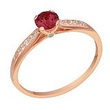 Золотое кольцо Риола с гранатом и бриллиантом