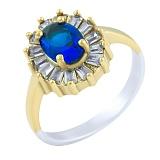 Кольцо из серебра и бронзы Грейс с сапфиром и фианитами