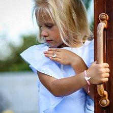 Детское колье Единорог с розово-белой эмалью