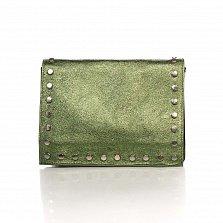 Кожаный клатч Genuine Leather 8928 зеленого цвета с магнитом на клапане и плечевым ремнем