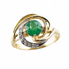 Золотое кольцо в красном цвете с изумрудом и бриллиантами Алессия