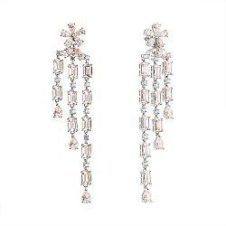 Серебряные пуссеты-подвески с фианитами 000059754