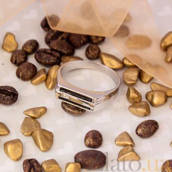Серебряный перстень Людвиг с черной эмалью и белым фианитом 000079047
