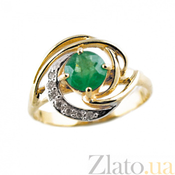 Золотое кольцо в красном цвете с изумрудом и бриллиантами Алессия ZMX--RE-6665_K