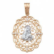 Золотая ладанка с фианитами Казанская Божья Матерь