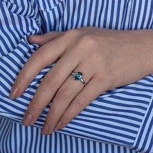 Серебряное кольцо Илона с синим лондон кварцем и фианитами