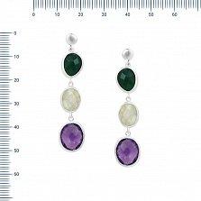 Серебряные серьги-подвески Ксения с зеленым агатом, аметистом и кварцем