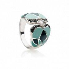 Серебряное кольцо с цветной эмалью, кварцем и топазами Любава