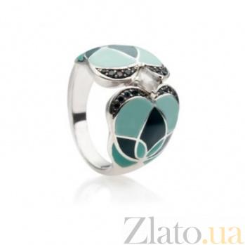 Серебряное кольцо с цветной эмалью, кварцем и топазами Любава 000030668