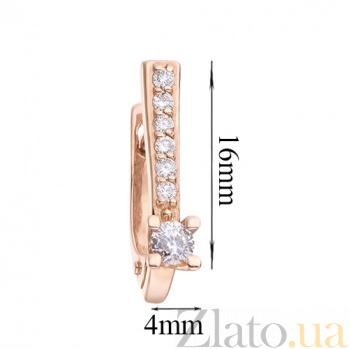 Серьги из красного золота с бриллиантами Лигейа  E 0633/крас