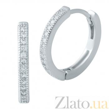Серебряные серьги Елизавета с фианитами 000078084