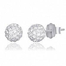 Серебряные сережки с цирконием Линден