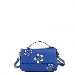 Кожаный клатч Genuine Leather 1543 синего цвета с короткой ручкой и цветами на клапане