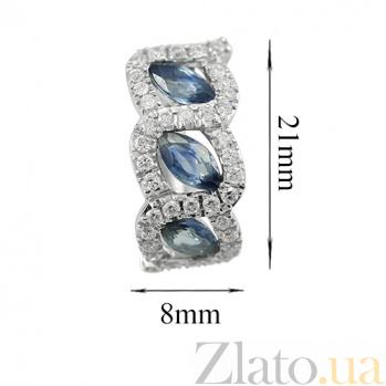 Золотые серьги с сапфирами и бриллиантами Бездонные глаза 000026654