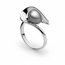 Кольцо из белого золота с серым жемчугом Динара