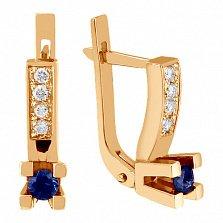 Золотые серьги Опера с сапфирами и бриллиантами