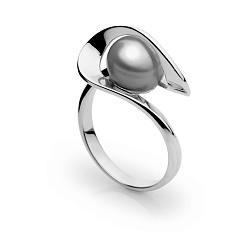 Кольцо из белого золота Динара с серой жемчужиной
